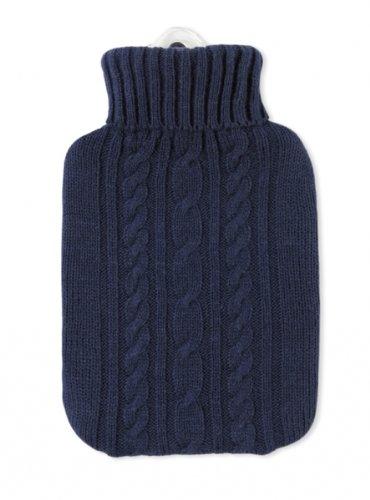 Hugo Frosch Wärmflasche Klassik 1,8 Ltr. mit Strickbezug blau