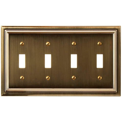 (Amerelle Continental Quadruple Toggle Cast Metal Wallplate in Brushed Brass)