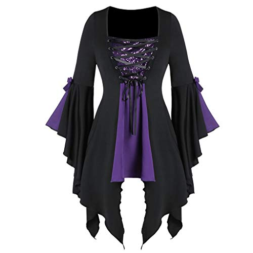 Halloween Event 07 (kitt Nightmare Before Halloween, Women Gothic Tunic Tee Dress Sequined Lace-up Ruffle Sleeve Tops (Purple,)