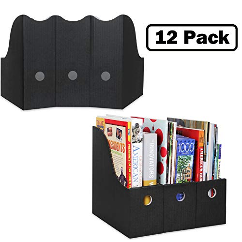 Magazine File Holder (Set of 12, Black), Sturdy Cardboard Magazine Holder, Folder Holder, Magazine Organizer, Folder Organizer, Magazine Box, File Storage, or Book Bins for Classroom Library Organizer