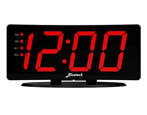 Curved LED Digital Alarm Clock, 2 Alarms, 2 USB Charging Ports, 7