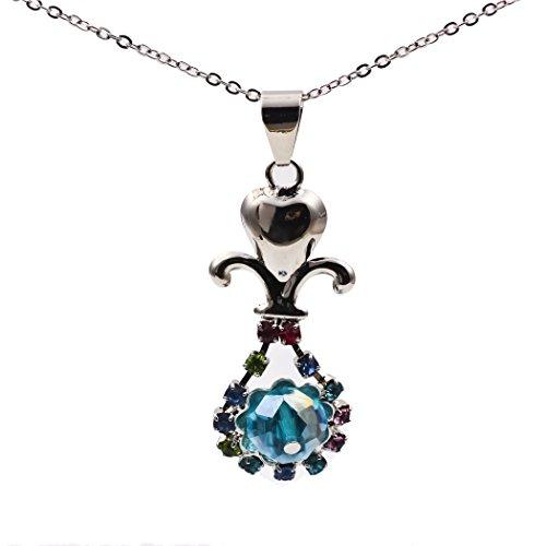 Ehoth 18K White Gold Gemstone Simple Rhinestone CZ Stone Pendant Necklace for Women Girls (Pendant Rhinestone)