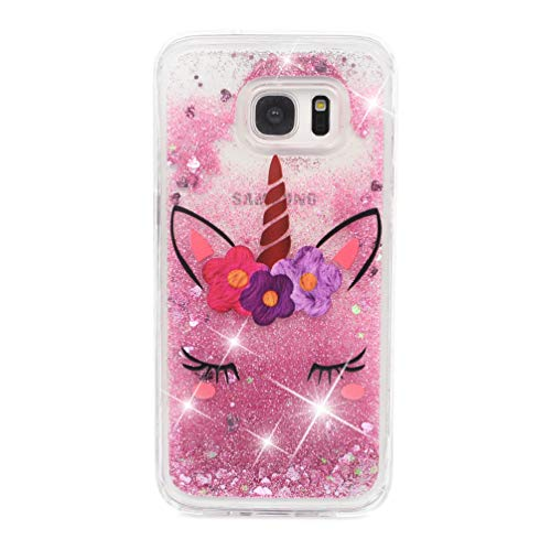 Galaxy S7 Edge Case, Clear Liquid Glitter Case Air-Cushion Drop Resistant Shiny Sparkle Flowing Moving Hearts Shock Absorption TPU Bumper Shell Protective Cover for Samsung Galaxy S7 Edge - Unicorn by KASOS (Image #7)