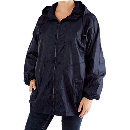 para capucha sin Bag abrigo unisex de dibujos Navy Chaqueta sin adultos forro With lluvia impermeable con pWntRaE
