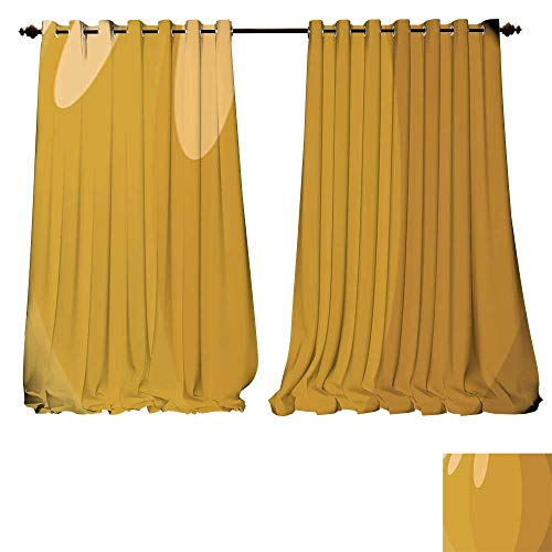 DESPKON-HOME Drapes for Living Room Pumpkin Skin Vector Illustration Halloween Background or Wallpaper Tie Up Printed Blackout Curtain -W108 x L84/Pair ()