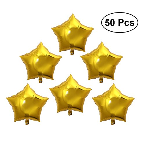 TOYMYTOY 50pcs Five-Point Star Foil Balloon 10 inch Gold Balloons for Valentin's Day Wedding Birthday Party Decoration -