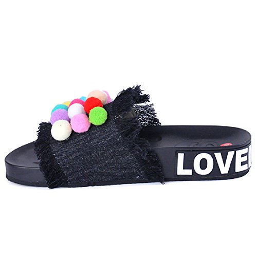 Slides Bottom Thick Sandals Women Color Summer Flats For Shoes Candy Non Btrada Slip Black Denim Oqw1BW77a
