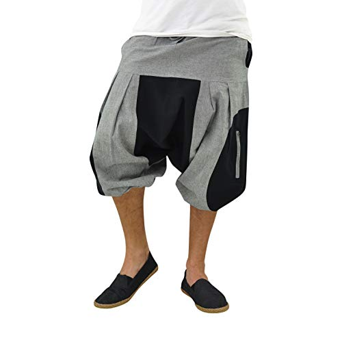virblatt harem pants men and women Aladdin pants as alternative clothing - Freigeist S/M Black and Grey (Freigeist)