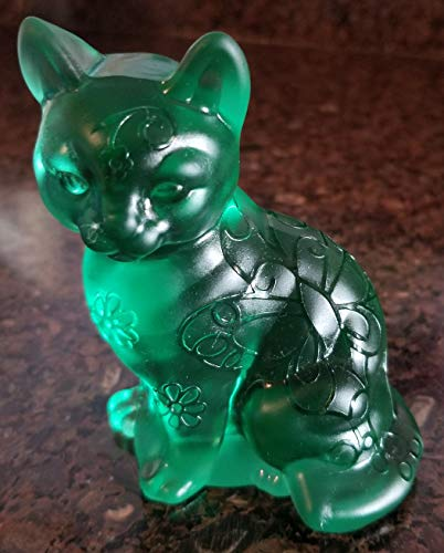 Fenton Green Satin Sand Carved Solid Glass Sitting Cat - Rosso OOAK
