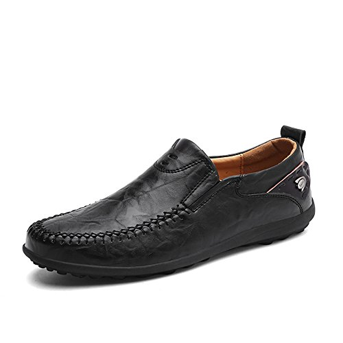 Another Summer Mens Slip-on Business Casual Leather Loafers Black BUzTG
