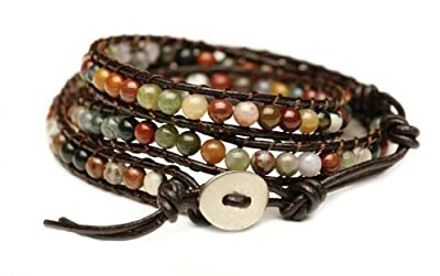 "Blueyes Collection, ""Hot"" Mix Color India Agate Bead on Genuine Leather Bracelet, 3 Wraps, 4mm/bead"