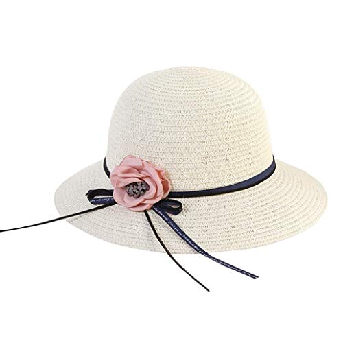 URIBAKE Women Beach Straw Hat Jazz Sunshade Panama Trilby Fedora Hat Gangster Cap