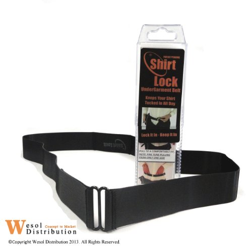 Black Shirt Lock Tuck Keep It In Shirt Strap Sticky Belt Holder Stay XL X-Large 1.5