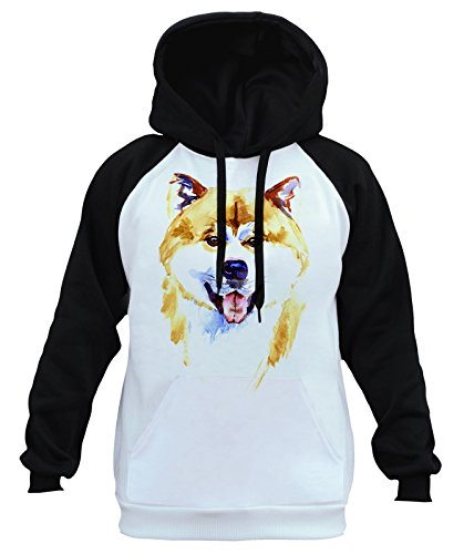 Interstate Apparel Men's Watercolor Akita Inu Head Dog Tee B827 Ply Raglan Baseball Hoodie 3X-Large ()