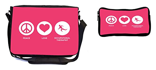 Rikki Knight Peace Love Occupational Therapist Tropical Pink Color Design Multifunction Messenger Bag - School Bag - Laptop Bag - with Padded Insert for School or Work - Includes Pencil Case by Rikki Knight