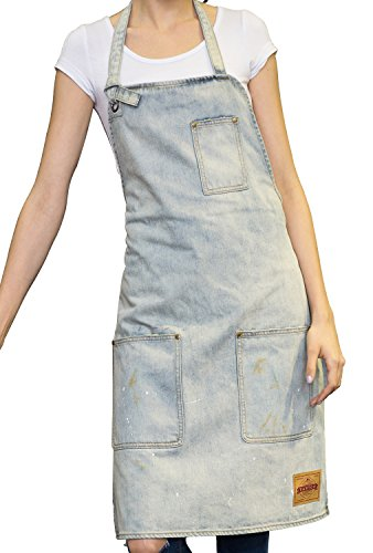 VANTOO Unisex Distressed Jean Apron with Convenient Pockets for Men and Women,White ()