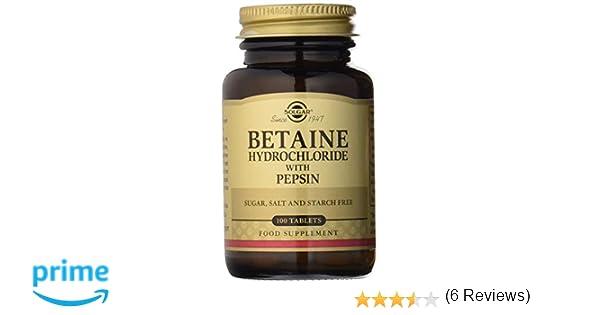 Solgar Betaína Clorhidrato con Pepsina Comprimidos - Envase de 100