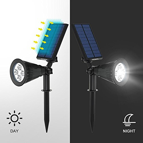 TechCode 2 PCS LED Lights, Solar Lamps 5V 2W Torches IP44 Sensor Spot Fence Panel Pole LED Garden Lights Stair Light Outdoor Lighting for Front Door/Yard/Driveway/Lawn/Landscape/Pathway/Patio(2 PCS by TechCode
