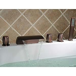 LOCO aceite-frotado cascada bronce grifo de la bañera con ducha de mano extendida