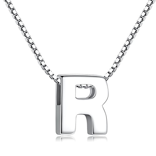 Sterling Silver Boy Girl - Candyfancy R Initial Necklace 925 Sterling Silver Alphabet Personalized A-Z Letter Pendant Necklace for Women Girls Gift with 18