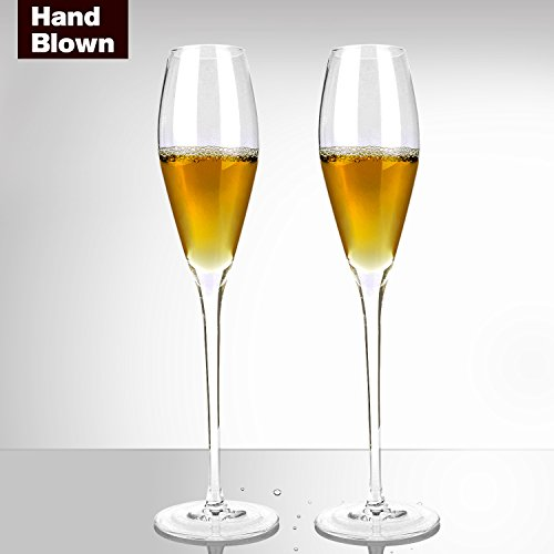Bella Vino Champagne Flutes,Beautifully Designed Short Stem Glasses Flutes -