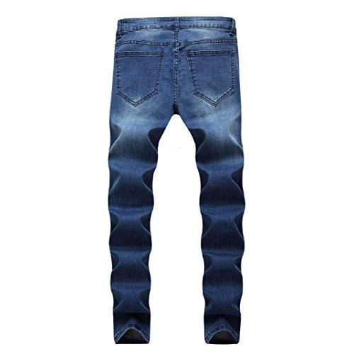 Skinny Risvolto Denim Uomo In Jeans Con Pantaloni Fit Da Blau Vintage Stretch Casual Slim Strappati Lunghi TU4qvX