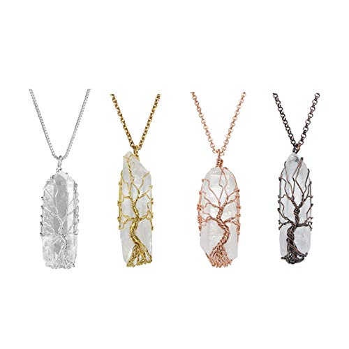 Top Plaza Natural Raw Stone Healing Crystal Necklaces Tree of Life Wire Wrapped Clear Quartz Point Pendant for Womens Ladies - Set of - Quartz Pendant Set