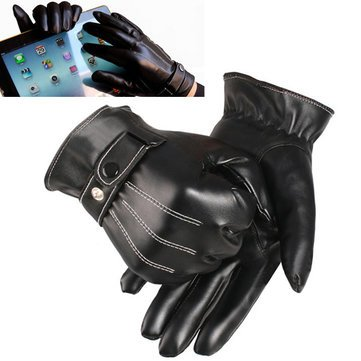Walid@Touch Screen Gloves Winter Motorcycle Mens Driving Warm Luxurious( XL ) BLACK