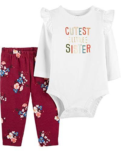 (Carter's 2-Piece Bodysuit Pant Set Cutest Little Sister NB New Born)