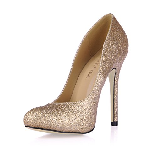 Punta Talón Zapatos Novia Mujer Nupcial Boda Moda Tacon Chau Vestido Bombas de Dama Redonda Sexy Alto Aguja Gold Fiesta b o de Delgado de CHMILE para 6wnBq5qv