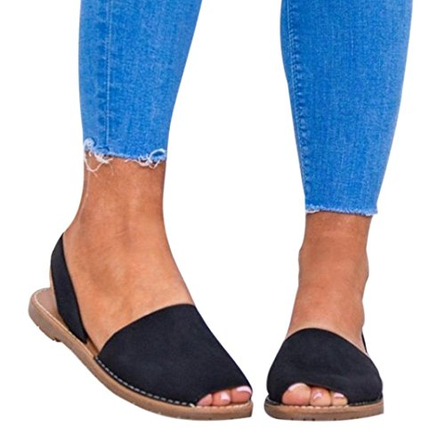ens Peep Toe Espadrilles Summer Flat Sandals Straps Shoes Flat Slipper (US:8, Black) (Espadrille Slides Sandals Shoes)