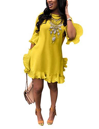 Para Fiesta Mini Larga Volante Vestido De Verano Manga Cóctel Mujeres Amarillo Vestidos BnUzq68n