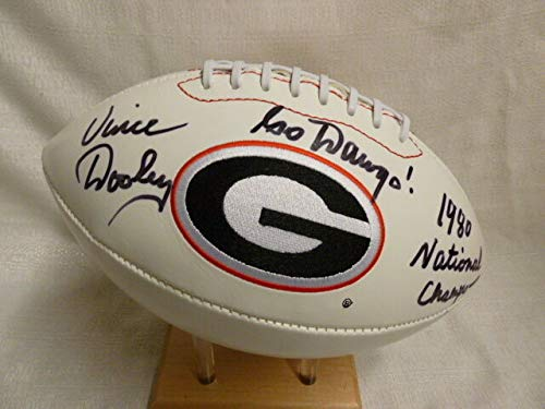 - Vince Dooley 1980 Nat Champs Autographed Signed Memorabilia Georgia Bulldogs Full Size Logo Football - JSA Authentic