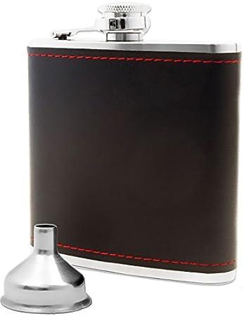 Outdoor Saxx® - Petaca de acero inoxidable, diseño de piel noble, botella de chupito Flagon, botella de bolsillo, embudo de llenado, gran idea de regalo en caja de regalo, 175 ml, color negro.