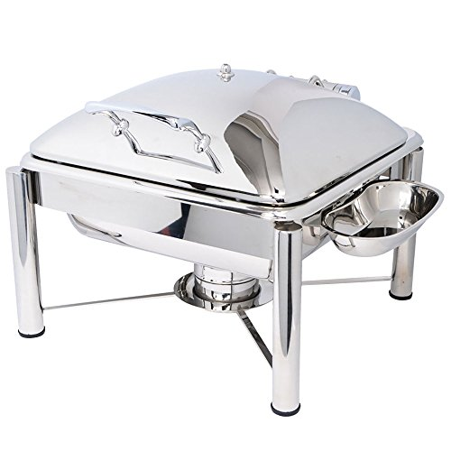 Eastern Tabletop 3934PL Crown 6 Qt. Stainless Steel Square Induction Chafer with Pillar'd Stand and Hinged Dome Cover