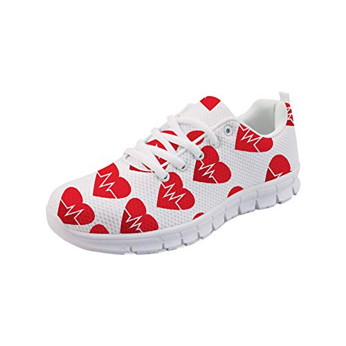 Lightweight Flats 3 Coloranimal Sneakers Womens Heartbeat Running Tennis Walking Mesh Air Footwear qnEZf1n