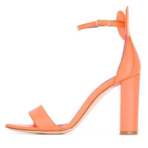 Damen Open Toe Sandalen High-Heels Blockabsatz Schuhe Closed Back mit Ohr Orange