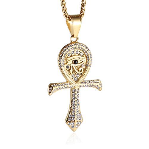 HZMAN CZ Eye of Horus Egypt Protection Pendant Coptic Ankh Cross Religious Stainless Steel Necklace (Gold) ()