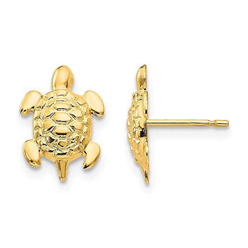 14k Yellow Gold Turtle Post Stud Earrings Animal Reptile Fine Jewelry Gifts For Women For Her ()
