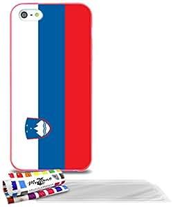 """Carcasa Flexible Ultra-Slim APPLE IPHONE 5S / IPHONE SE de exclusivo motivo [Bandera Eslovenia] [Rosa] de MUZZANO  + 3 Pelliculas de Pantalla """"UltraClear"""" + ESTILETE y PAÑO MUZZANO REGALADOS - La Protección Antigolpes ULTIMA, ELEGANTE Y DURADERA para su APPLE IPHONE 5S / IPHONE SE"""