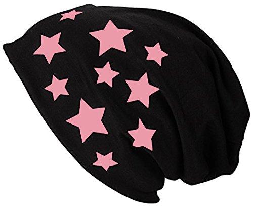 2Store24 Gorro Jersey Largo Beanie con Estrellas Primavera verano Mujer y Hombre Baby Pink
