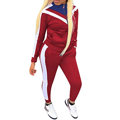 Women Jogging Suits Color Block Long Sleeve Jacket Skinny Long Pant Tracksuit Sets Activewear 2 Piece Outfits Plus Size,Medium,Ablue