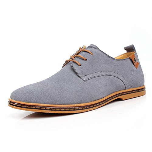 GoMotion Men's Classic Suede Leather Oxford Lace up Flats Shoes Casual Walking Loafers (9, Gray) (Walking Shoes Classic Leather Mens)