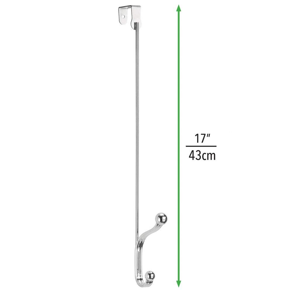 mDesign Set of 2 Metal Coat Hook Bags and Towels Chrome Perfect Over-Door Rack for Jackets Two Clothes Hooks for Hall and Bathroom Doors