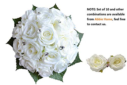 Abbie Home 5pcs Wedding Bridal Bouquet Set White Rose Corsage Brooch Pin Flowers for Bridesmaid Groomsman-White