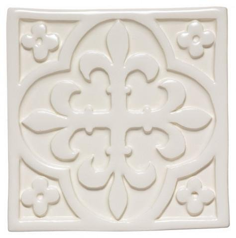 Waterworks Archive Decorative Field Tile 4 x 4 in Off White Glossy Crackle by Water Works