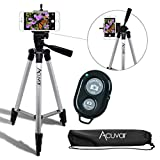 """Acuvar 50"""" Inch Aluminum Camera Tripod with Universal Smartphone Mount and Bluetooth Wireless Remote Control Camera Shutter for Smartphones"""