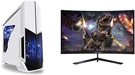[Ryzen & GTX 1050 Ti Edition] SkyTech Archangel Gaming Computer Desktop PC Ryzen 1200 3.1GHz Quad-Core & Sceptre 24-Inch Curved 144Hz Gaming LED Monitor Edge-Less AMD FreeSync DisplayPort HDMI