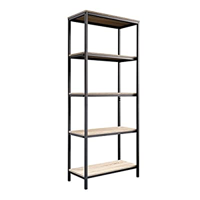 """Sauder 420277 North venue Tall Bookcase, L: 23.47"""" x W: 11.61"""" x H: 56.77"""", Charter Oak finish - Open shelving for storage and display Finished on all sides for versatile placement Durable, Black metal frame - living-room-furniture, living-room, bookcases-bookshelves - 41sVfLo42tL. SS400  -"""
