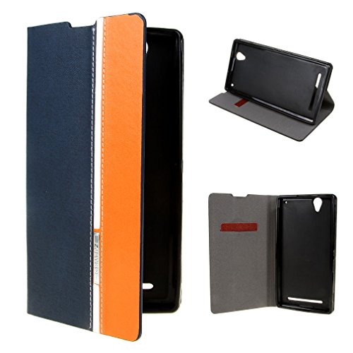 For Sony Xperia T2 Ultra Case , Leathlux Simple Texture PU Leather Flip Protective Case Cover For Sony Xperia T2 Ultra Darkblue